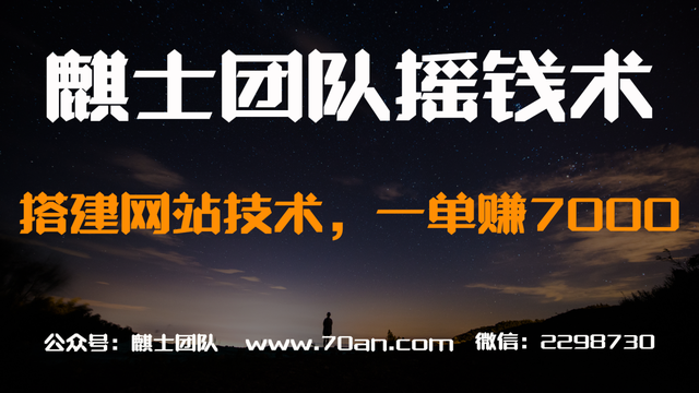麒士团队摇钱术11:搭建网站技术,一单赚7000【视频课程】