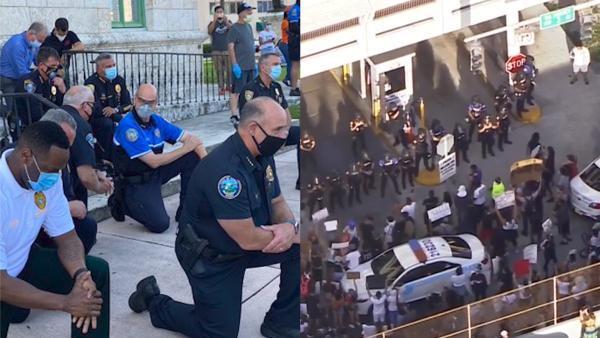 平和到纵火,迈阿密抗议升级警察跪地祈祷安卓版