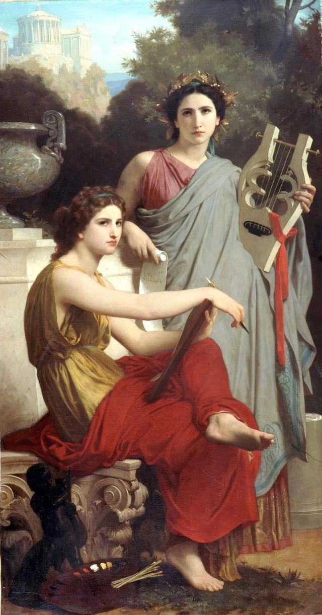 1867年 布面油彩寓言画 艺术与文学