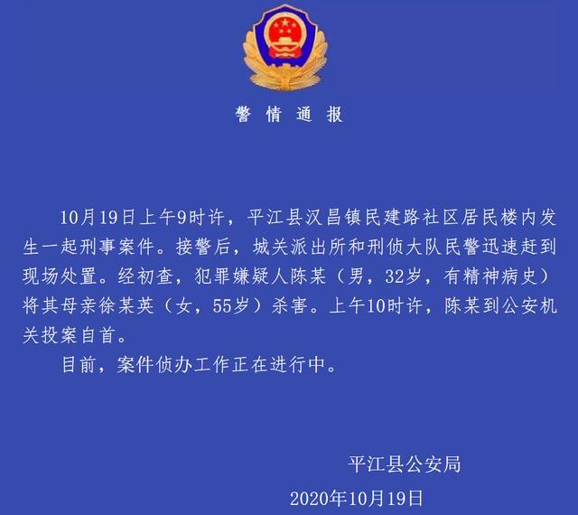 """警方通报""""湖南平江一男子杀害母亲"""":男子有精神病史"""