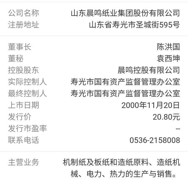 山东晨鸣纸业集团股份有限公司的股票你会买吗?