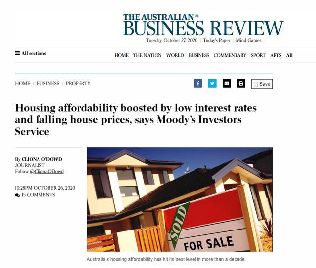 澳大利亚低利率与房价下跌有何影响?住房可负担性提升了