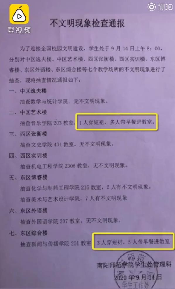 河南一高校学生穿短裙上课被通报 学校:创建文明城市 建议配合【www.smxdc.net】