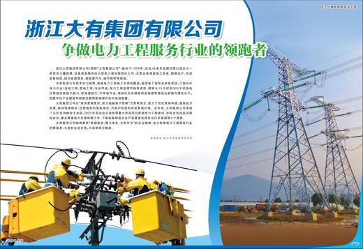 浙江大有集团有限公司争做电力工程服务行业的领跑者