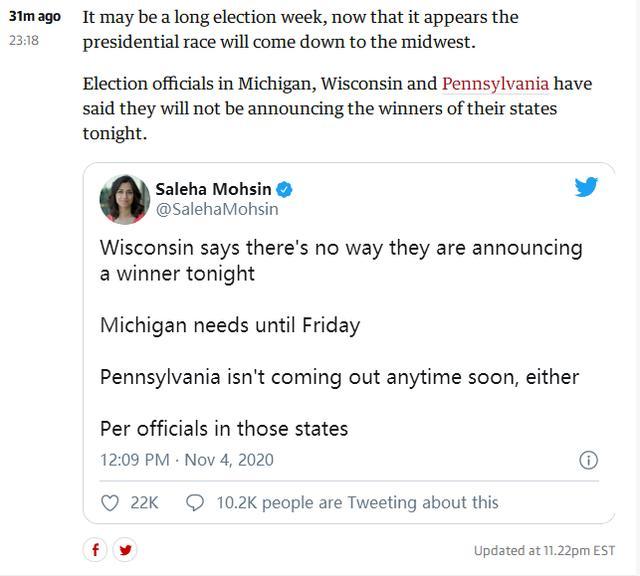 外媒:密歇根、威斯康星和宾夕法尼亚3州表示,暂时不会公布选举结果