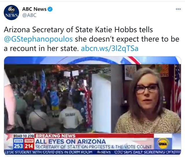 快讯!美媒:亚利桑那州务卿称不希望该州重新计票