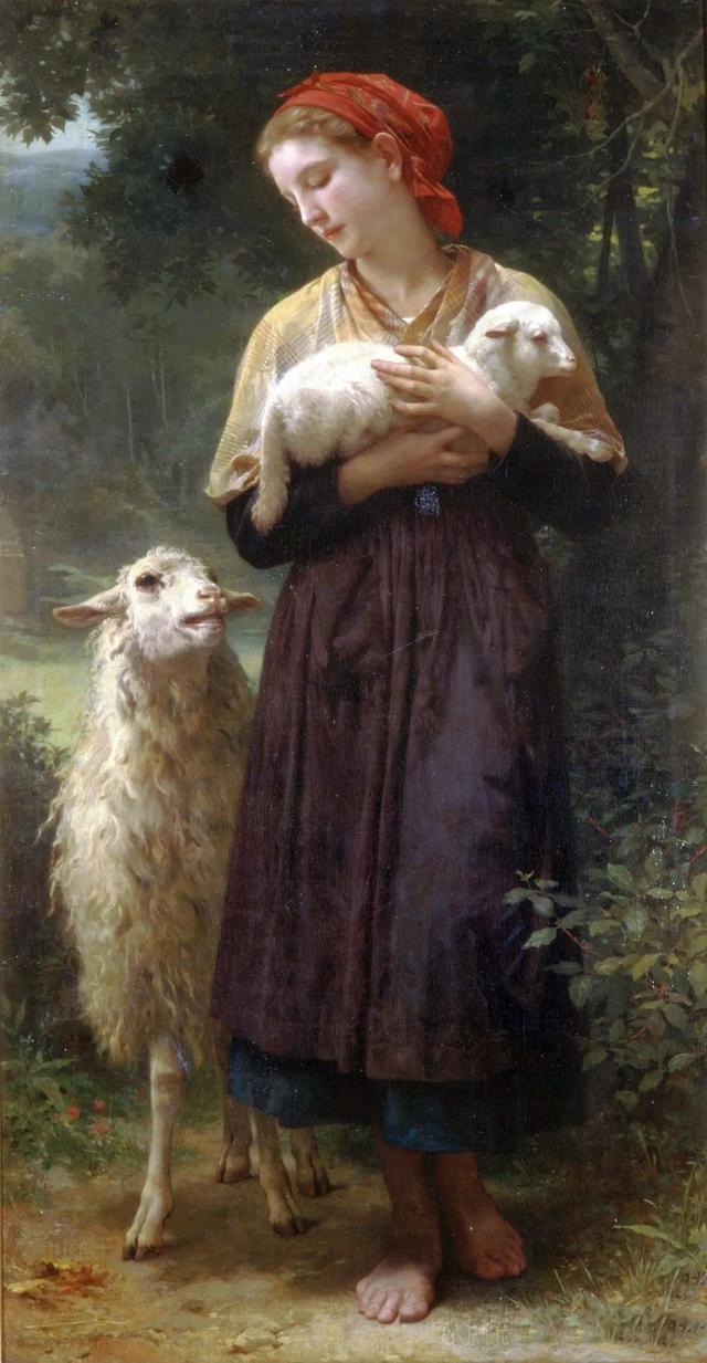 1873年 布面油彩肖像 牧羊女