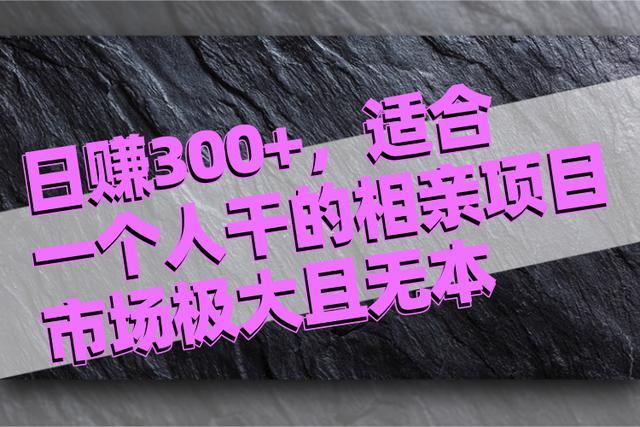 佐道超车暴富系列课13:日赚300+,适合一个人干的无本暴利相亲项目!