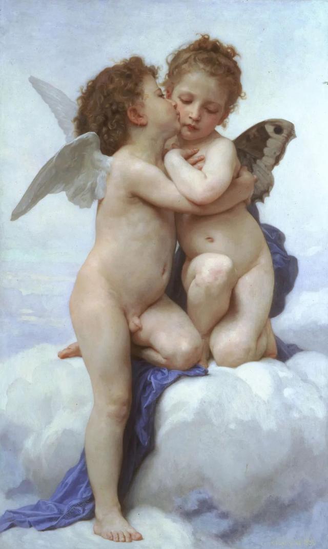 1889布面油彩神话画 丘比特与普赛克