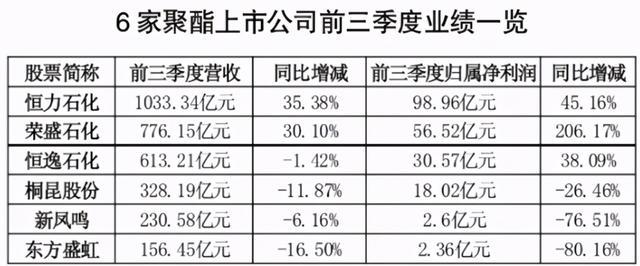 6家聚酯龙头上市公司业绩折射聚酯市场动向,谁才是抗风险头牌?