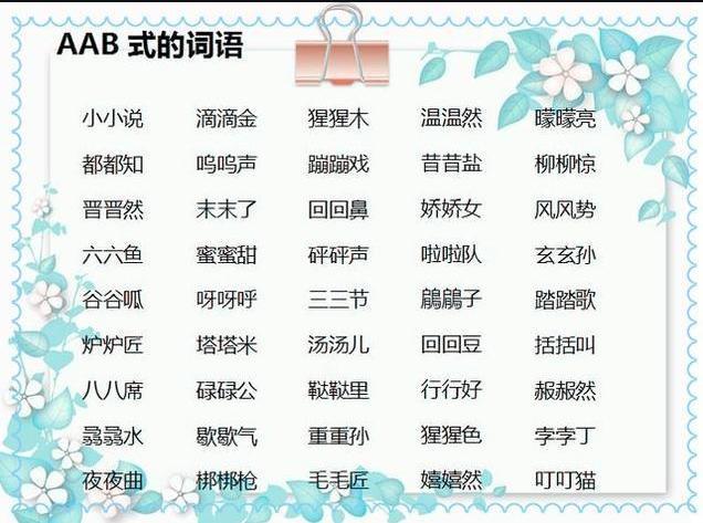 a股aabc似的,基础AAB、ABB、AABC、ABCC、AABB、ABAC式词语大全,小学生必备