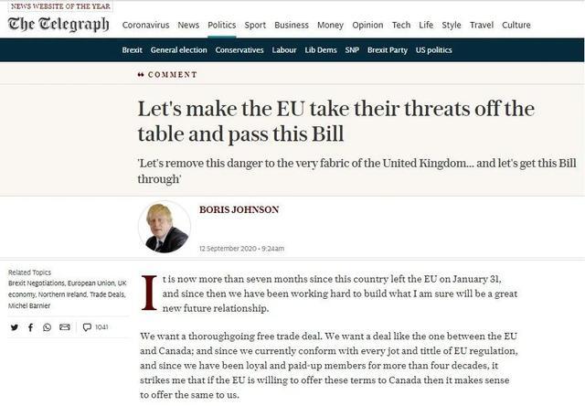英国首相鲍里斯:让我们摆脱欧盟威胁,维护英国内部市场统一-第1张