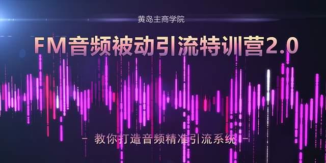 黄岛主·FM音频引流特训营2.0:独家引流模式,单账号50W+播放量,轻松变现