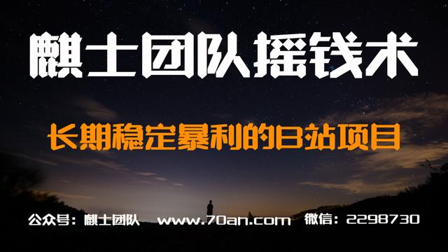 麒士团队摇钱术09:长期稳定暴利的B站项目【视频课程】