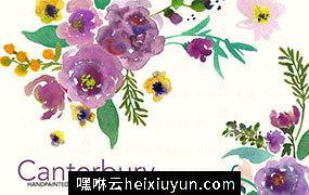 手绘水彩花卉植物设计元素 Canterbury-Watercolor-Clip-Art-Set #32538