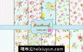 手绘水彩花卉无缝背景设计素材Watercolor Pattern Sensational #558198