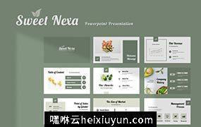 高级灰豆绿干净现代简单Sweet Nexa Powerpoint  #335399