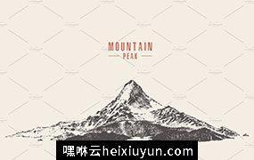 手绘山顶图 Mountain peak with pine forest #1149450