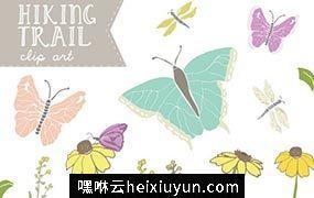 蝴蝶插画素材 Hiking Trail Butterfly Clip Art #1386