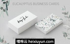 桉树文艺简约风名片矢量模版 Eucalyptus Business Card Template