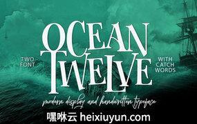手绘复古字体Ocean Twelve Font Duo #895633