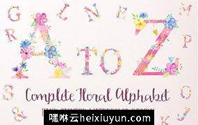 粉色少女心花卉字母合集Pink Floral Alphabet A to Z #507703