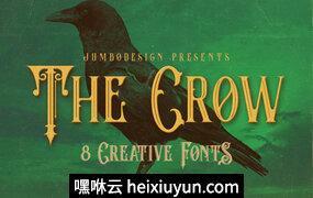 复古风格字体The Crow – 8 Vintage Style Fonts #936330