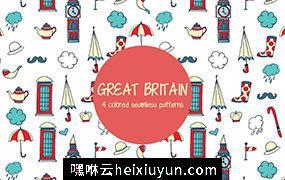 英国特色矢量图案素材 Great Britain Vector Pattern