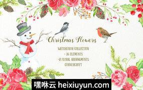手绘水彩圣诞节装饰素材包Watercolor Red Christmas