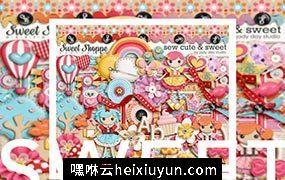 甜美可爱的卡通橱窗PNG元素sweet shoppe sew cute sweet
