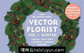 冬季圣诞节日真实元素矢量素材 The Vector Florist – Brushes: Winter #1944464