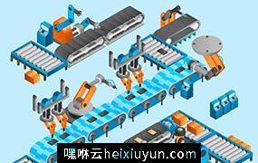 生产车间流水线矢量元素Production line