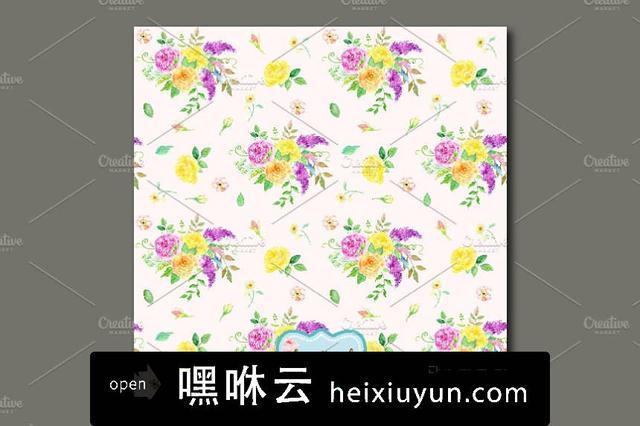 嘿咻云-手绘水彩花卉无缝背景设计素材Watercolor Pattern Sensational #558198