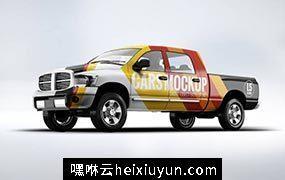 皮卡卡车SUV房地产车体广告VI样机展示模型mockups