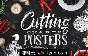 极力推荐:生鲜肉类切割图表海报等设计素材合集 Cutting Charts Posters #1152685