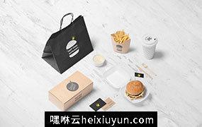 汉堡快餐店品牌贴图样机模版 Burger Store Branding Mockup