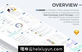 29出品 高端定制级Web网站管理后台界面UI工具包 Admin Dashboard UI Kit