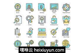 66个社区协作项目认可投资者IPO众筹平台彩色矢量线图标Crowdfunding Icons