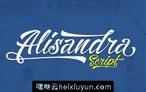霸气的手绘英文字体 Alisandra Script #330020