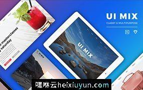 高品质企业网站电子商务餐饮美食时尚团队项目新闻电子邮件PSD网页模板UI套件UI MIX