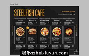 时尚高端简约多用途的餐厅饭店餐单菜谱设计海报宣传单DM折页设计模板food-menu-Z