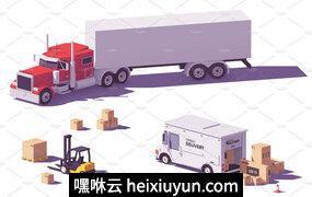 矢量运输货物卡车图标Vector low poly trucks and forklift