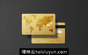 金色世界地图模型高分辨率金卡信用卡银行卡 Golden Credit Card Mockup