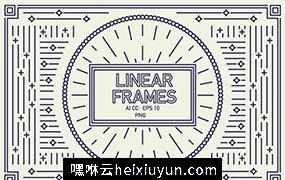 5款经典复古的线稿花卉边框矢量素材 Linear Frames Set
