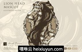 创意艺术狮子头矢量图案Lion Head Illustration Mascot logo