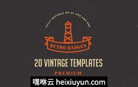 20组复古风格徽章商标模版素材 Vintage Logos & Badges