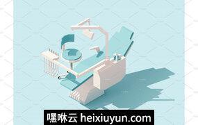等量低多牙齿椅子Vector isometric low poly dental chair #2229538