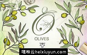 160个手绘水彩橄榄绿叶植物剪贴画素材合集 Olives vector EPS watercolor set