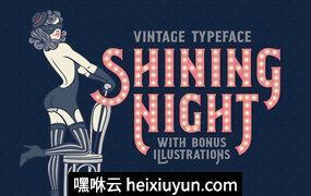 粉色复古字体Shining Night type -amp; illustrations #1242612