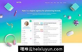多功能时尚创意机构企业官网宣传推广PSD网页模板Nyte PSD Template